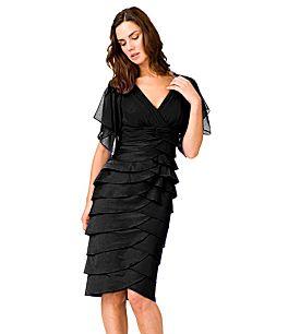Adrianna Papell Flutter-Sleeve Tiered Dress
